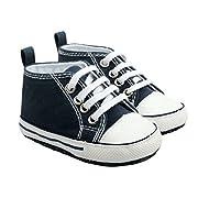 Unique Baby Boy Soft Sole Sneaker Crib Shoes (0-6 months, Dark Blue)