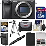 Sony Alpha A6300 4K Wi-Fi Digital Camera Body (Black) 32GB Card + Case + Battery & Charger + Tripod + Kit