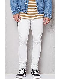 Mens Stacked Skinny Side Zip White Raw Hem Stretch Jeans