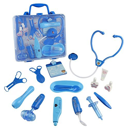 Doctor Kit Pretend Play Doctor Playset Electronic Stethoscope Durable Carrycase with 16 Medical Accessories Role Play Game for Early Education For Kids 3 4 Years Old ()