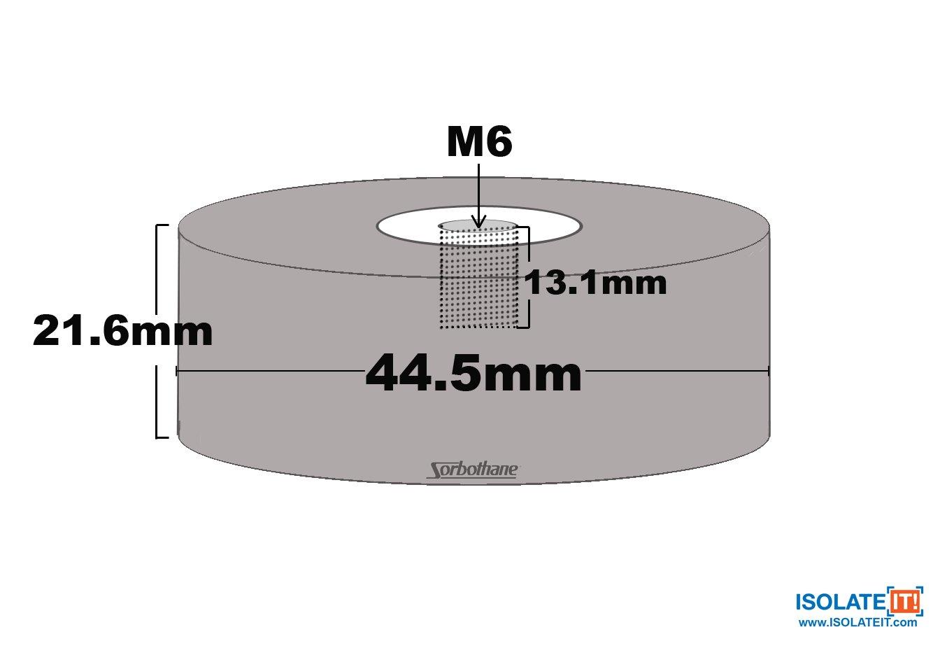 44,5 mm 50 Duro Durchmesser 4 St/ück Sorbothane Buchse Vibration Bumper MOUNT-M6-21,6 mm