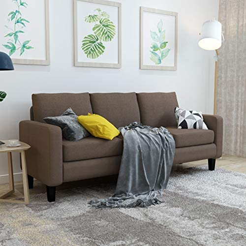 Mecor Modern Sofa Couch 3 Seater Linen Fabric Sofa w/Thick Cushion and Deep Seat Mid-Century Upholstered Accent Arm Sofa Loveseat