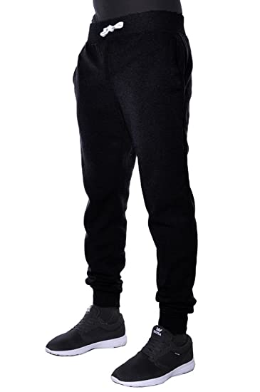 205c789edee Hat and Beyond Mens Fleece Jogger Pants Elastic Drawstring Active Slim Fit  Trousers (Small