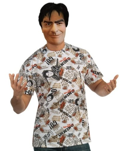 Charlie Sheen Shirt and Mask, Multicolored, X-Large]()