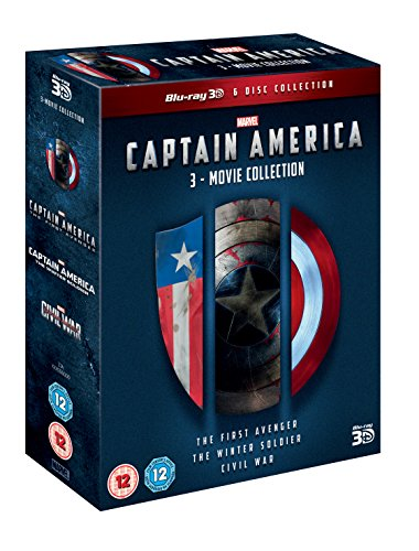 Captain America: 3Movie Collection Bluray 3D  2D Region Free UK Import