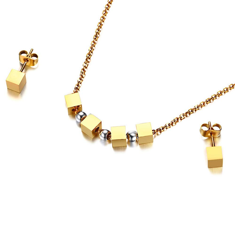 Amazon.com  Albert Women Stainless Steel Gold Square Cube Pendant Necklace  and Earring Set  Jewelry 330327d1f5