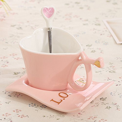 Heart shaped ceramic coffee cup Essential home The first cup of tea in the afternoon Pink