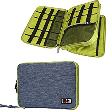 BUBM Universal Double Layer Travel Gear Organizer / Electronics Accessories Bag / Battery Charger Case (Large, Blue and Green)