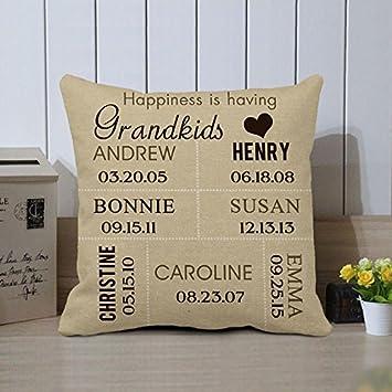 Pillow Cover Custom Grandkids Grandma Personalized Gift For Birthday
