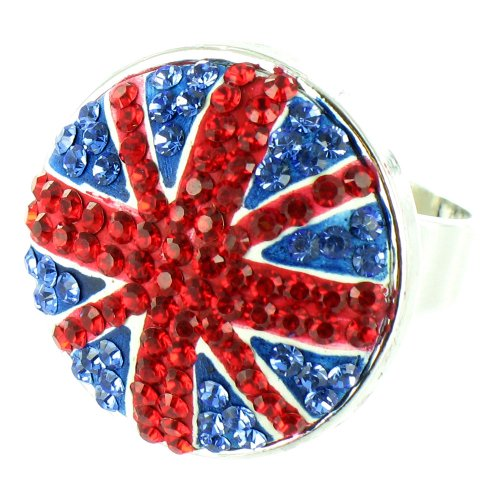 (Blue and Red on Silver Plated Union Jack Crystal)