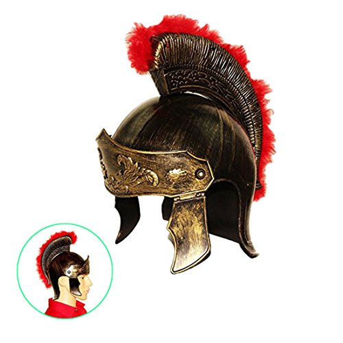 dazzling toys Roman Legion Gladiator Helmet Hat -For Big Kids, Teens and Adults.,Gold,Medium -