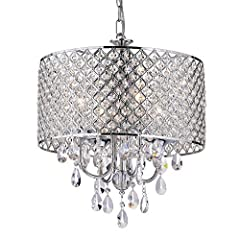 This stunning fixture features a crystal encrusted drum shade, three rows of cascading hanging crystal pendants and a chrome finish. The 4-Light design ensures that a subtle glow of light is emitted in the room that adds drama and mood lighti...