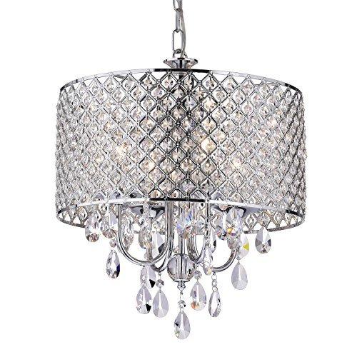 Edvivi Marya 4-Light Chrome Round Crystal Chandelier Ceiling Fixture | Beaded Drum Shade | Glam Lighting by Edvivi