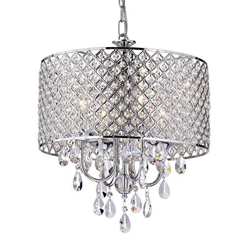 Edvivi Marya 4-Light Chrome Round Crystal Chandelier Ceiling Fixture | Beaded Drum Shade | Glam Lighting (Tables Dimensions Room Dining)