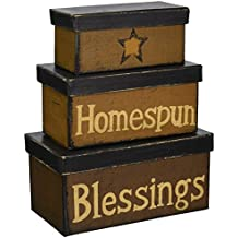 Your Hearts Delight Homespun Blessings Nesting Boxes, 7-1/2 by 4-1/8 by 3-1/2-Inch