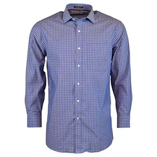 Nautica Navy Checked Long Sleeve Classic Fit Dress Shirt Size 15.5 34//35