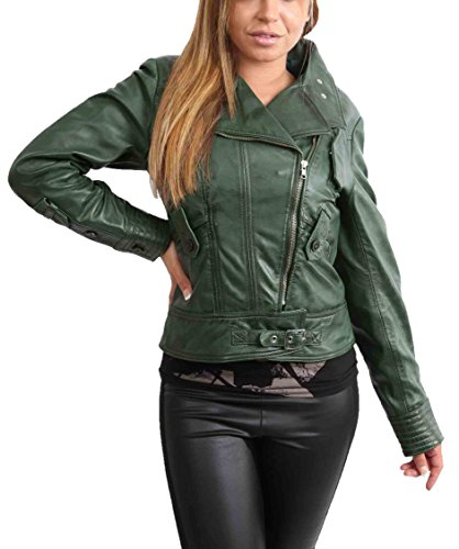Biker Leather Goods - A1 FASHION GOODS Womens Soft Real Leather Biker Jacket Zip up Fitted Designer Coat Green - Sheila (Large)