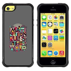 "Pulsar iFace Series Tpu silicona Carcasa Funda Case para Apple iPhone 5C , Cita Mundial Regla Imaginación Creatividad Arte"""