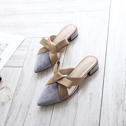 Baotou Perezoso acentuadas ITTXTTI Sandalias Moda C Sandalias Plana Retro con Simple Moda Zapatillas Fuera Mujer Desgaste Verano de Femenina FzOg8F