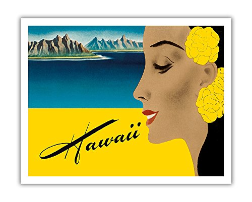 Pacifica Island Art Hawaii - Matson Navigation Lines - Vintage Cruise Ship Passenger Luggage Decal by Frank Macintosh c.1940s - Hawaiian Fine Art Print - 11in x 14in