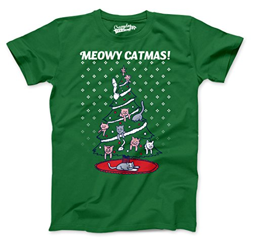 Mens Meowy Christmas Cat Tree Ugly Christmas Sweater T Shirt (Green) - L