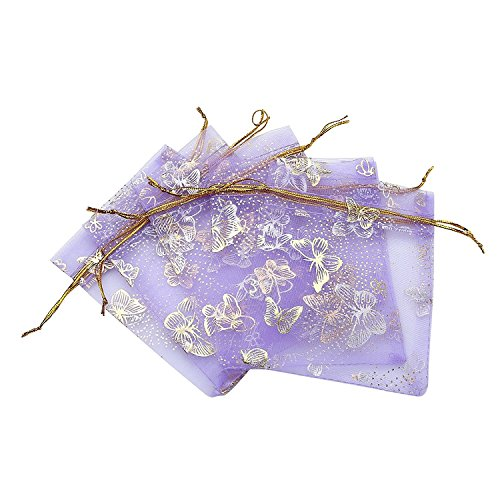 Flowers Gold Bag - Ankirol 100pcs Mini Sheer Organza Wedding Favor Bags 3.5x4.5 Luxury Jewelry Candy Gift Card Bags With Gold Line Drawstring Pouches Butterflies (light purple)