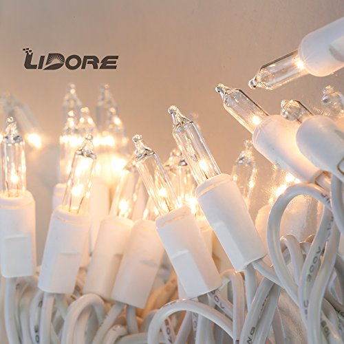 LIDORE 100 Counts Super Bright Clear Mini Christmas tree Lights. White Wire Best Gift for Decoration. End to End Connection. Set of 100 Clear String Lights