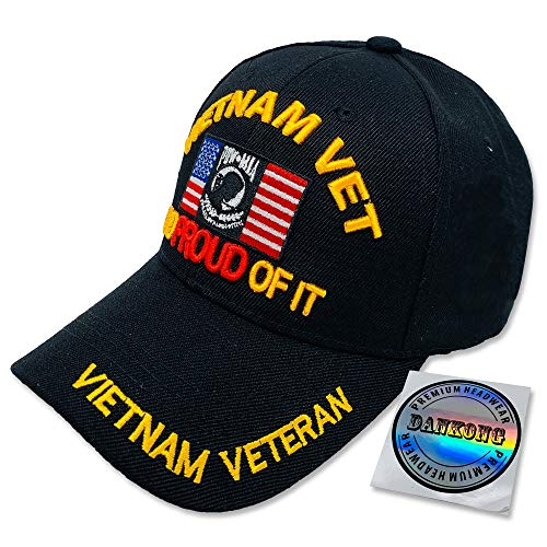 DANKONG U.S. Army Hat -Official Licensed US Warriors Military 3D Embroidered Baseball Cap with Size Adjustable Hoop and Loop Closure for Men and Women - Vietnam Vet - Flag - Black