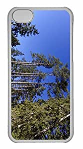 iPhone 5C Case, Personalized Custom Trees And Blue Sky for iPhone 5C PC Clear Case