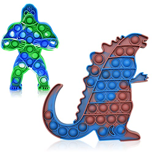 2PCS Big Size King Kong Vs Godzilla Sensory Push Pop Jumbo Fidget Toys Relieves Stress and Anti-Anxiety for Kids Adults Perfect for Birthday Party Favors, School Classroom Rewards