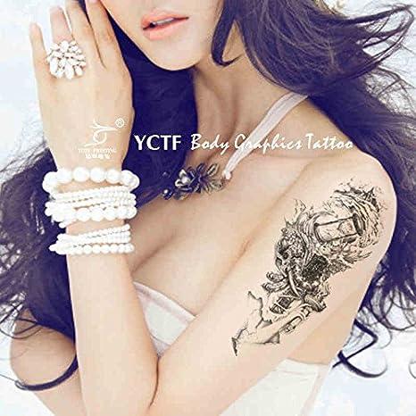 Zokey impermeable tatuaje temporal reloj de arena tótem flor brazo ...