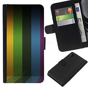 KingStore / Leather Etui en cuir / Sony Xperia Z2 D6502 / Líneas de rayas púrpura del arco iris amarillo