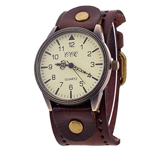SANNYSIS Luxury Brand Vintage PU Leather Watch Men Women Wristwatch Ladies Dress Quartz Watch Brown