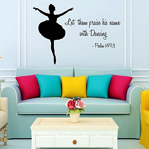 Housewares Wall Vinyl Decal Ballerina Quote Girl Dancer Psalm 1493 Let Them Praise His Name with Dancing Ballet Dance Studio Sport People Gym Interior Home Art Decor Kids Nursery Removable Stylish Sticker Mural Unique Design for Any Room