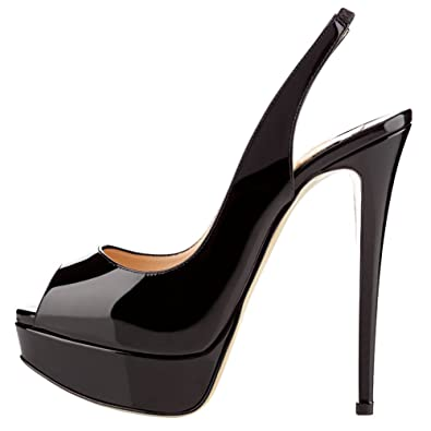 34632848ee6640 MERUMOTE Damen Slingbacks Peep Toe High Heels Schuhe Plateau Pumps Schwarz  35EU