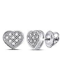 10KT White Gold Round Diamond Heart Cluster Screwback Earrings 0.48 Cttw