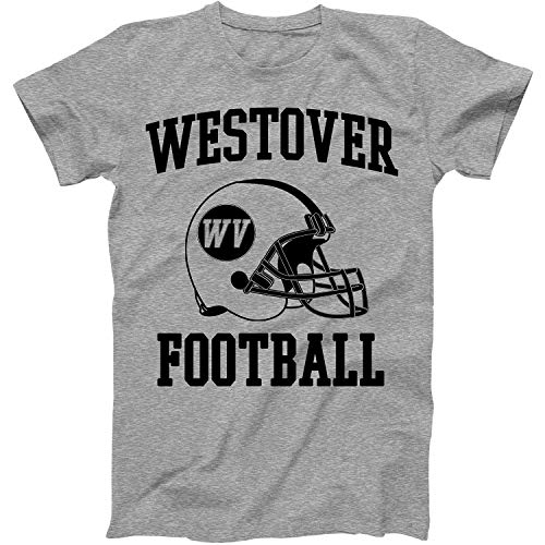 Vintage Football City Westover Shirt for State West Virginia with WV on Retro Helmet Style Grey Size ()