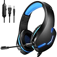 Gaming Headset with Microphone, Over Ear Gaming Headphones with Noise Cancelling LED Light for PC Laptop PS4 Xbox One…