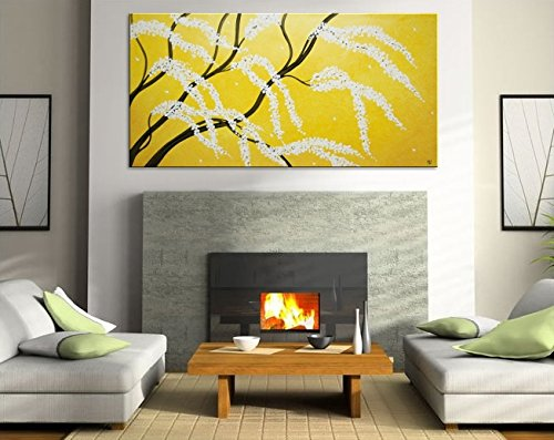 Cherry Blossom Painting Beige Ochre Wall Art