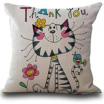 b6fab0125831 jinshifu Hand Painted Cute Cartoon Cat Girl Linen Cotton Kids Throw Cushion  Cover Rooms Decor Bedside