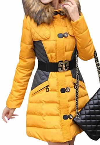 Fur Parka UK Coat Women's Winter Outerwear today Yellow Faux Belted Hooded wtOw8qH