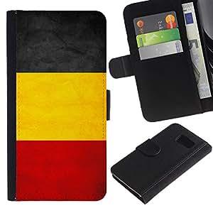 EJOY---La carpeta del tirón la caja de cuero de alta calidad de la PU Caso protector / Samsung Galaxy S6 / --Nacional bandera de la nación País Bélgica