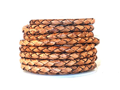 cords craft 4.0m 4 Ply Round Braided Genuine Bolo Leather Cord, Tan Color, Hand Braided, 5.46 Yards (Roll of 5 Meters)