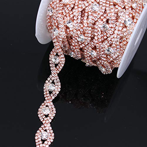 (Crystal Metal Chain Trim with Rhinestones for Wedding Waist Belts Bridal Hair Jewelry Shoes Bags Dresses (Rose Gold))