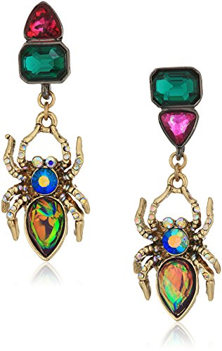 Betsey Johnson Halloween Mismatched Stone Spider Drop Earrings
