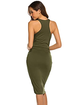 4bfe84e3cb602 Women's Ruched Casual Sundress Midi Sheath Bodycon T Shirt Dress Army Green  XS