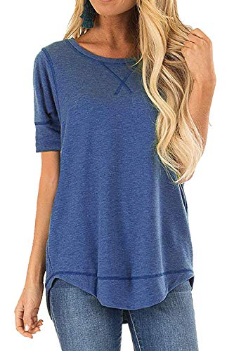 JomeDesign Womens Shirts Short Sleeve Side Split Casual Loose Tunic Top Blue Small ()