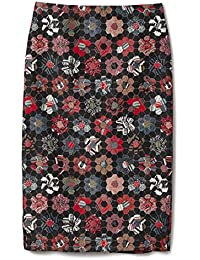 Deconstructed Floral Quilted Pencil Skirt