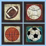 buyartforless IF WA 2689-2692 12x12 Set Gelcoat Framed (Set of 4) Ball I, II, III, IV (Baseball, Basketball, Football, Soccer) by Jo Mullan 12X12 Art Print Poster Kids