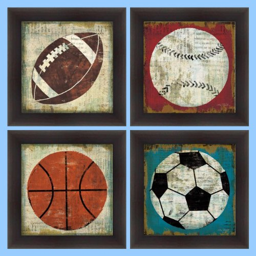buyartforless IF WA 2689-2692 12x12 Set Gelcoat Framed (Set of 4) Ball I, II, III, IV (Baseball, Basketball, Football, Soccer) by Jo Mullan 12X12 Art Print Poster Kids by Buyartforless